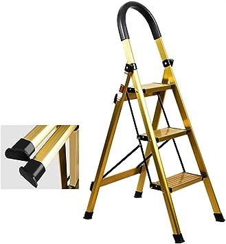 Escaleras plegables Plegable De Aluminio 3 Escalera Con Goma Mango, Robusto Oro Taburete De Paso, Ideal For El Bricolaje Cubierta Uso Al Aire Libre, 330lbs Capacidad (Size : 42×65×116cm): Amazon.es: Bricolaje y