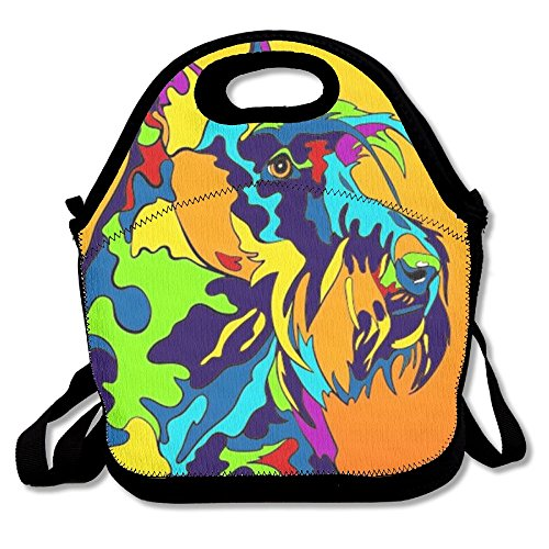 Qwazii Lunch BagMulti-Color Scottish Terrier Dog Waterproof Insulated Neoprene Lunch Tote with Zipper for School Work -