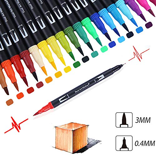 GC 72 Colors Dual Tip Brush Pens Highlighter 72 Art Markers 0.4mm Fine Liners & Brush Tip Watercolor Pen Set for Adult and Kids Coloring Books Bullet Journal, Calligraphy, Hand Lettering, Note Taking by GC Writing Quill (Image #6)