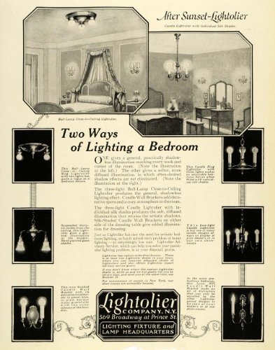 1922 Ad Lightolier Household Lighting Lamps Chandelier Louis XVI Candle Bracket - Original Print Ad from PeriodPaper LLC-Collectible Original Print Archive
