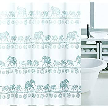 Elephant Mandala Shower Curtain Modern Vintage Oriental Style Cotton Blend Fabric In Blue Shades Ombre Striped