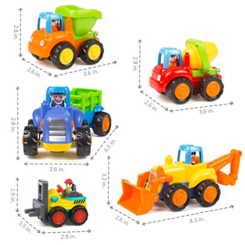 51BYl2lwflL - Woby Push and Go Friction Powered Car Toys Set Tractor Bulldozer Mixer Truck and Dumper for Baby Toddlers