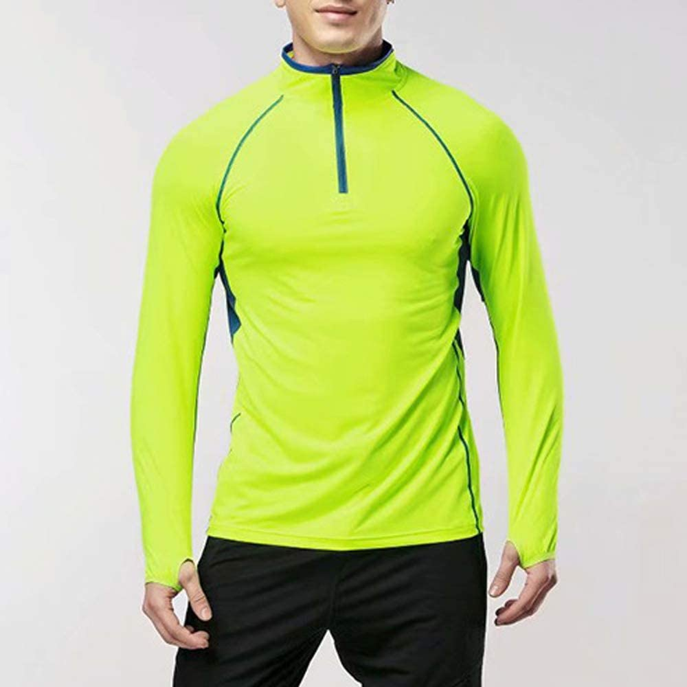 MUSCLE ALIVE Mens Quarter Zip Running Active T Shirts Workout Long Sleeve Jersey with Thumb Holes Polyester and Spandex