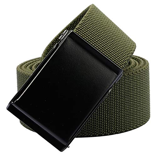 Sportmusies Elastic Belts for Men, Military Style Stretch Webbing Tactical Duty Belt (Army Green,Flip Top Buckle) ()