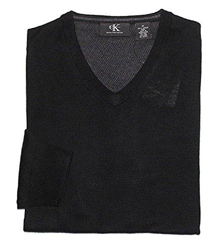 Calvin V-neck Sweater - Calvin Klein Men's V-Neck Merino Wool Sweater (Medium, Black)