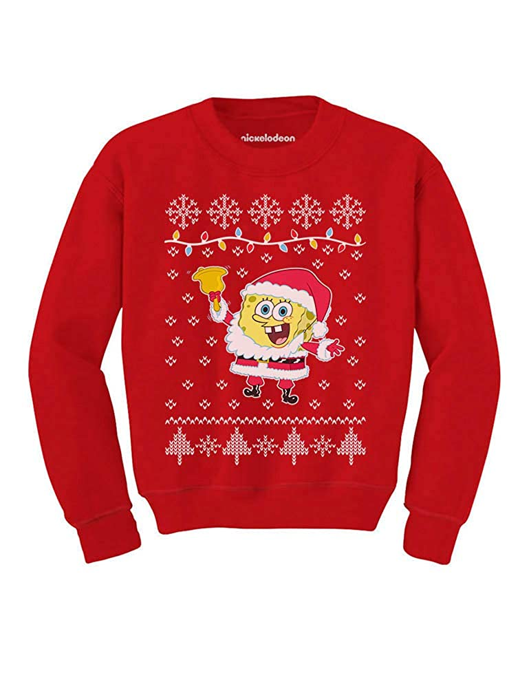 Tstars Spongebob Santa Jingle Bells Ugly Christmas Sweater Youth Kids Sweatshirt G0hPPMagfm