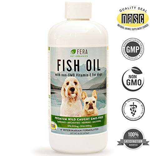 Fish Oil For Dogs - Omega 3 Fatty Acids Supplement Supports Joint, Immune, Heart, Skin, Coat Health - Pure Wild Caught Non GMO Sardine, Anchovy, Mackerel - Highest All Natural EPA DHA (16 oz)