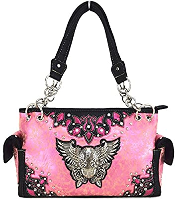 Western Cowgirl Concealed Carry Sugar Skull Wings Purse Handbag Messenger Shoulder Bag Wallet Set Pink