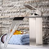 Commercial & Home Single Lever Widespread Waterfall Bathroom Vessel Sink Faucet Deck Mount Centerset Lavatory Faucet bathtub Mixer taps Vanity Bathroom faucets(Brushed Nickel Rectangular)