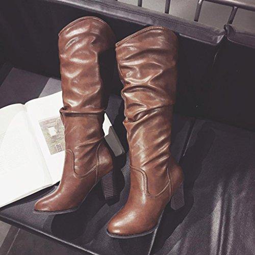 Invernali con High Combattimento Esterni Peluche Tacco Alto Shoes Donna SOMESUN Stivali Stivali Selvaggi Heel da Brown Women Boots da gZwEq0E