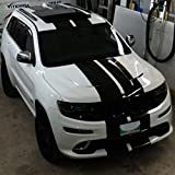 1x Full Stripe Kit Decal Sticker Graphic Compatible with Jeep Grand Cherokee WK2 SRT 8 HellCat Hemi