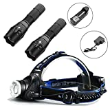 2-Pack Tactical Flashlight, 1-Pack Rechargeable Headlamp, Ultra Bright LED with Adjustable Focus for Hunting Hiking Camping Fishing Reading Running Cycling