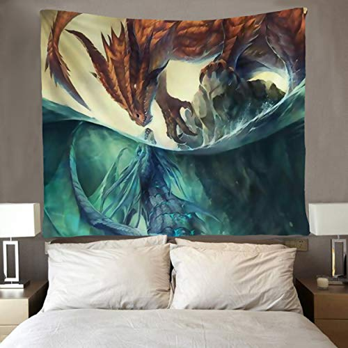 SARA NELL Dragon Wall Tapestry Hippie Art Fire and Ice Dragon Tapestries Wall Hanging Throw Tablecloth 50X60 Inches for Bedroom Living Room Dorm Room