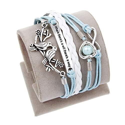 (Madehappy Vintage Bird Owls Anchor Bracelets Wrap Leather Bracelet Charm Bracelets pulseira Couro Bracelets for Women,10)