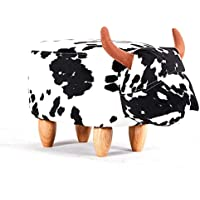 Modern Home Soft Plush Ride-On Stool/Ottoman - Spotted Cow