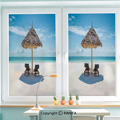 RWNFA Window Film No Glue Glass Sticker Wooden Sun Loungers Facing Eastern Ocean Under a Thatched Umbrella in Zanzibar Static Cling Privacy Decor for Kitchen Bathroom 22.8x35.4inches,Turquoise - Decor Zanzibar