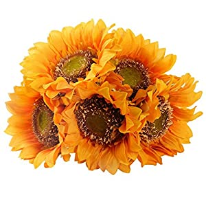 StarLifey Garden Helianthus Artificial Sunflowers 5 Heads for Home kitchen Bride Holding Flowers Floral Decor (Yellow)