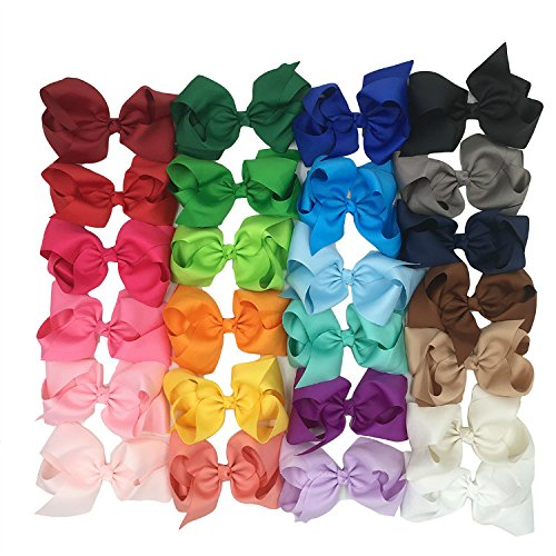XIMA 25pcs 6 inch big ribbon bows,Girls' hair accessories hair bow (With French clip) by XIMA