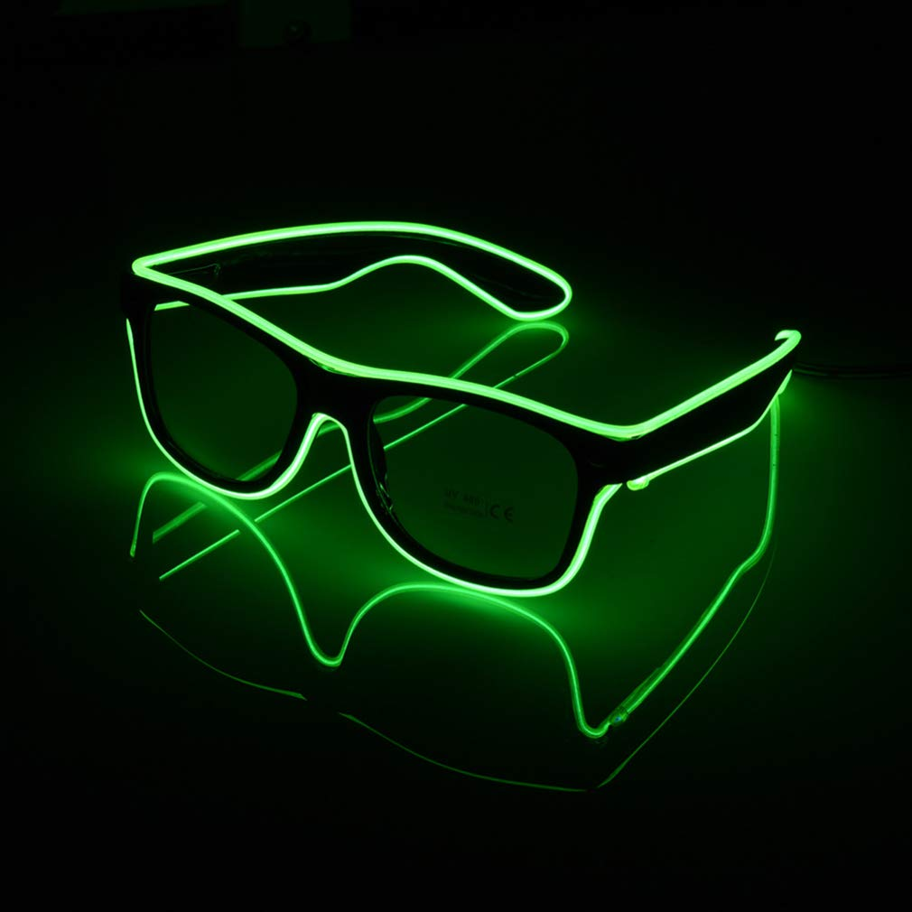 PLOPLO Voice Control El Wire Glow Sun Glasses Led Flashing Safety Light Up Multicolor Frame Green