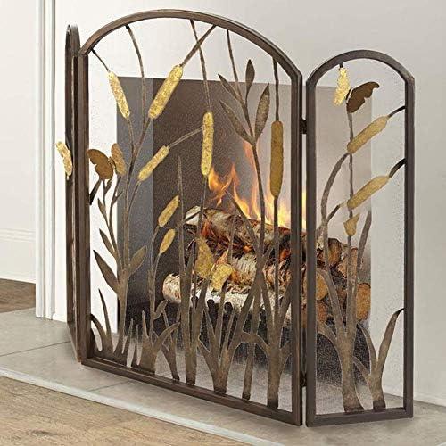 暖炉スクリーン 暖炉/ストーブ/グリル用メッシュカバー、3パネルの赤ちゃん安全な消防スクリーンスパークガード、と折り畳み式の暖炉スクリーン