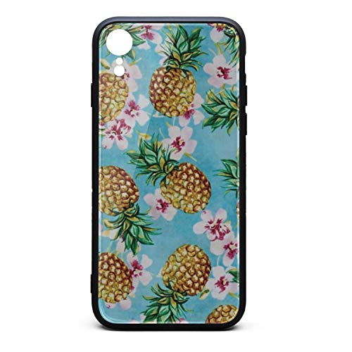 Cool Phone Case for iPhone XR Oasis Pineapples Rubber Frame Tempered Glass Covers Protective Shock-Absorption Skid-Proof Never Fade Mobile Cases ()
