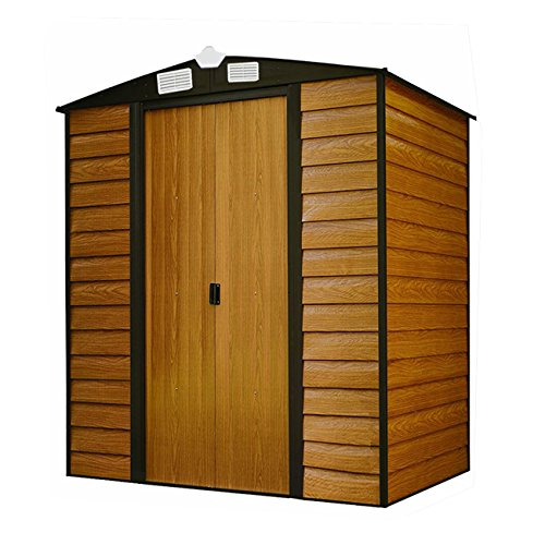 walcut 63lx5 w x 67h wood color storage tool shed ga