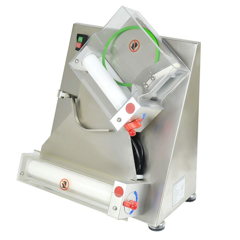 Commercial Pizza Dough Roller Machine 110V 370W Electric Pizza Making Machines Automatical Dough Sheeter Suitable for Noodle Pizza Bread and Pasta Maker Equipment