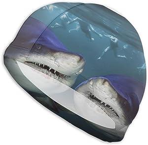 ArtSocket Adult Swim Cap Two Sharks Have Fun Attack Swimming Cap for Women