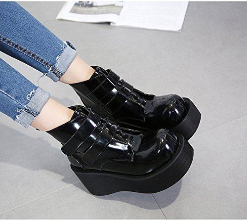 KHSKX-7 5 Cm Zapatos De Suela Gruesa Negro Retro Sandalias Zapatos De Moda Muffin Fondo Redondo Con Gruesos Zapatos Treinta Y Cinco Thirty-five
