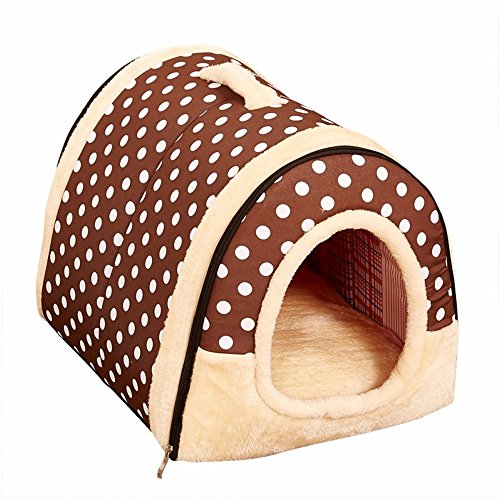 Aoxsen Large Pet House Warming Cat Bed Foldable Dog Kennel Warmer Pets Tent Puppy Rabbit Cage Plush Pad Blanket Indoor Small Dogs Cats Sofa with Removable Bed Cushion Washable Mat (Type 3) Review