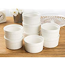 Set of 8 PCS 6 oz Round Porcelain Oven Safe Ramekin Dessert Souffle Baking Dish(3.5 INCHES) (WHITE)