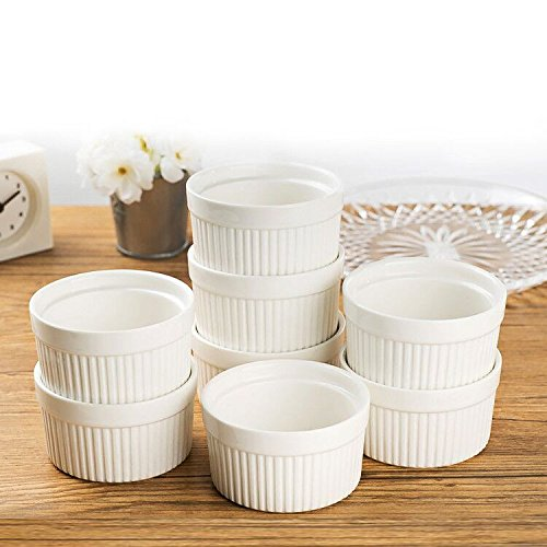 Set of 8 PCS 6 oz Round Porcelain Oven Safe Ramekin Dessert Souffle Baking Dish(3.5 INCHES) (WHITE) (Baking Dish Souffle Porcelain)