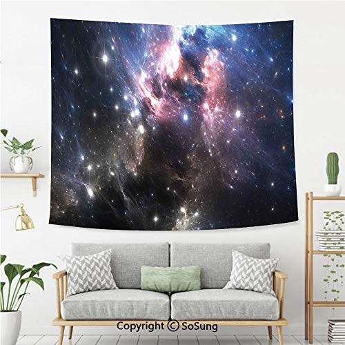 SoSung Constellation Wall Tapestry,Giant Nebula in Vivid Colors Space Motion Supernova Futuristic,Bedroom Living Room Dorm Wall Hanging,80X60 Inches,Light Pink Blue Black