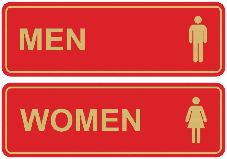 Small Set of 2 - Silver Standard Men Women Restroom Sign
