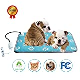 Pet Heating Pad Bed Mat For Dog Cat Electric Heating Mat Waterproof Adjustabe Warming With Stainless Steel Chew Resisitant Cord (Footprint, L-27.9'' X 17.7'')
