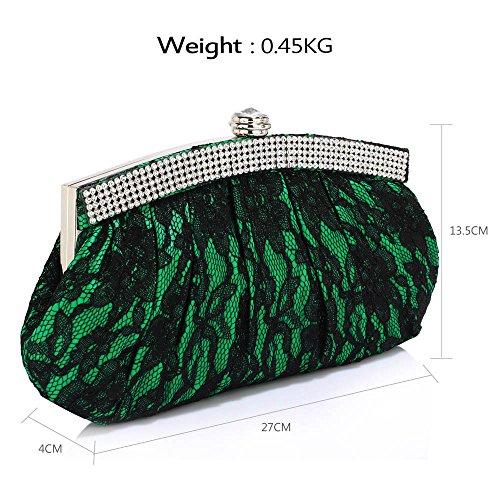 TrendStar - Cartera de mano para mujer verde - Green Floral Satin Clutch