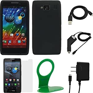 GTMax 6 Items Essential Accessories Bundle Kit for Motorola DROID RAZR MAXX HD includes Silicone Case, Screen Protector, Charger, Cable, Holder