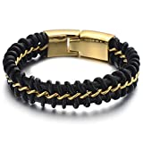 Best Jewelry Everyday Gifts For Boyfriends - Large 8.4 Inches Mens Black Braided Leather Bracelet Review