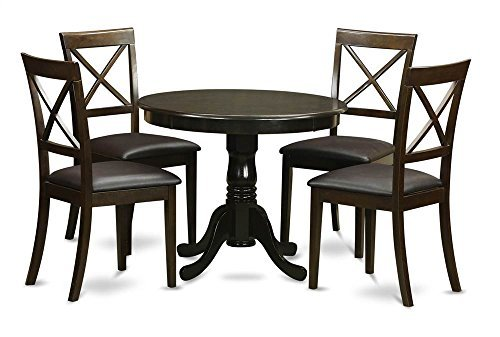 - East West Furniture ANBO5-CAP-LC 5-Piece Kitchen Nook Dining Table Set, Cappuccino Finish