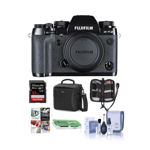 Fujifilm X-T2 Mirrorless Camera Body, Black - Bundle with Ca