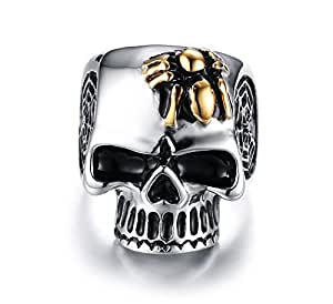 Quubb Men High Polished Stainless Steel Punk Skull Rings with Spider Gift Ideal for His Birthday (10)