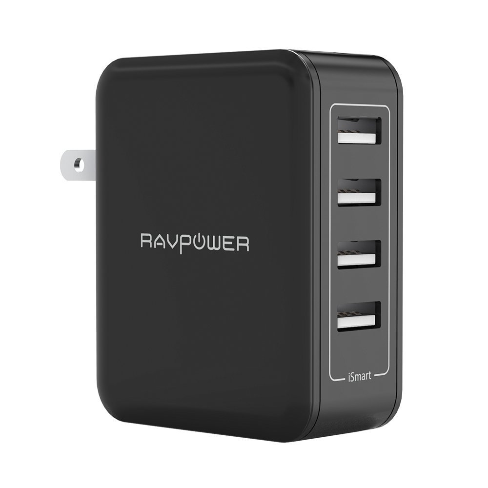 USB Wall Charger RAVPower 40W 8A 4 Port Travel Charger Charging Station, Compatible With IPhone X 8 7 Plus, IPad Pro Air Mini, Galaxy S7 S6 Edge, Tablet, Kindle And More (Black)