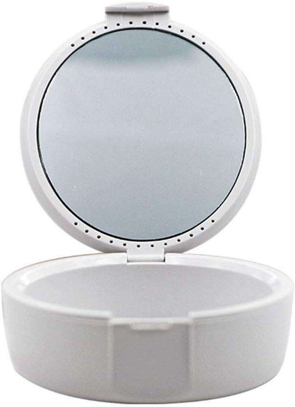 LSMELSME - Estuche para dentaduras postizas, caja de dentaduras con tapa y espejo pequeño recipiente protector bucal con agujeros fácil de abrir, color negro y blanco, Blanco, 1.00[set de ]: Amazon.es: Belleza