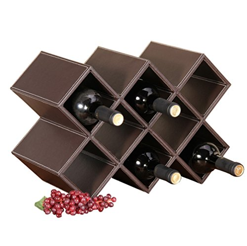 Comtelek PU Leather Wine Rack - Classics 8-Bottle Wooden Wine Rack - Sleek and Chic - Minimal Assembly Required (Leather Mahogany Cabinet)