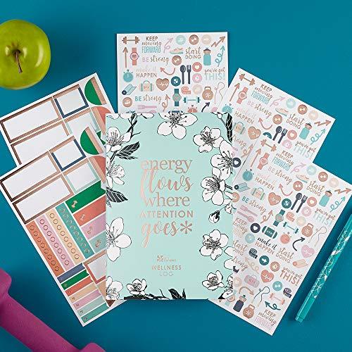 Erin Condren PetitePlanner Wellness Log Edition 2 Bundle - PetitePlanner with Extra Functional and Decorative Sticker - Decorative Step Journals