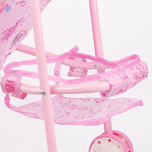 Irony Pink Doll Stroller Baby Carriage Foldable with 4 Wheels with Hood by Huang Cheng Toys (Image #6)