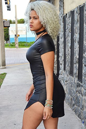 shelovesclothing - Robe - Moulante - Manches Courtes - Femme noir noir XL