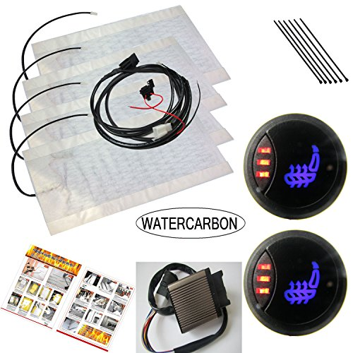 WATERCARBON 3 Files 3 LED red Light Switch Built-in Car Heated Seat Heater Pad Car Seat Warmer Covers Kit Uses Carbon Fiber Premium Yellow Heating pad 2 Seats ()