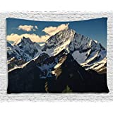 Lake House Decor Tapestry by Ambesonne, Snowy Mountain Summit Clouds in Sky Tranquility in Wild Nature Theme, Wall Hanging for Bedroom Living Room Dorm, 80WX60L Inches, White Black Blue