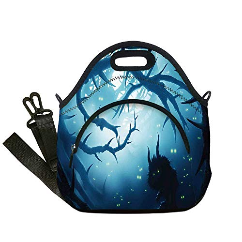 Insulated Lunch Bag,Neoprene Lunch Tote Bags,Mystic House Decor,Animal with Burning Eyes in Dark Forest at Night Horror Halloween Illustration,Navy White,for Adults and children -